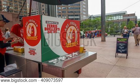 Chicago, Il May 20, 2016, Abe Froman Sausage King Of Chicago Food Cart At The Willis Tower (formerly