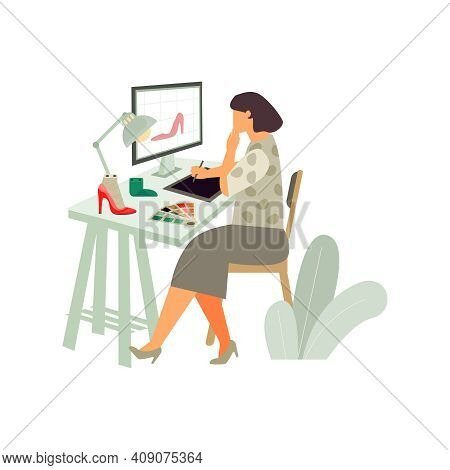 Footwear Designer Shoemaker Shop Flat Composition With Woman At Computer Table Calling Client Vector