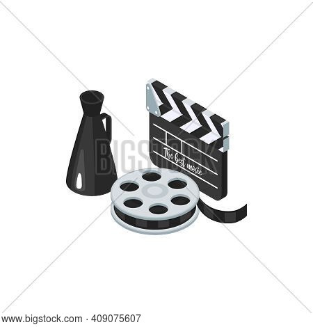 Isometric Cinematography Composition Of Isolated Icons Of Cinema Reel Clapper And Megaphone Vector I