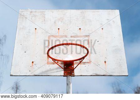 Broken Basketball Hoop In A Disadvantaged Area, Close-up. Ghetto Concept