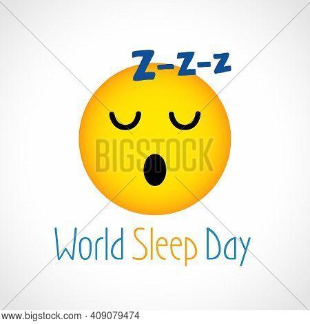 Happy World Sleep Day Creative Congrats Concept. Funny 3d Dreaming Face Icon, Text. Holiday Invitati