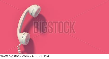 Vintage Telephone, White Old Phone Handset On Pink Wall Background, Copy Space. 3D Illustration