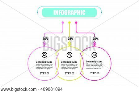 Circle Presentation Business Infographic Template With Three Options. Timeline 3 Point Banner Elemen