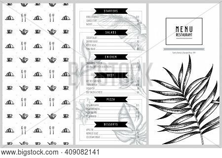 Vintage Menu Design With Monstera, Banana Palm Leaves, Strelitzia, Heliconia, Tropical Palm Leaves,
