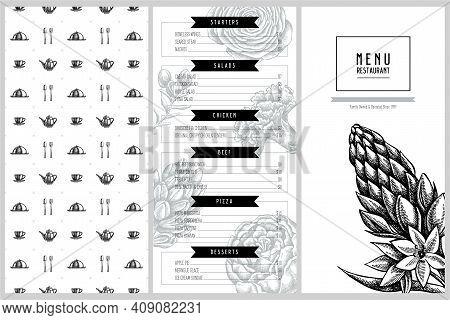 Vintage Menu Design With Peony, Carnation, Ranunculus, Wax Flower, Ornithogalum, Hyacinth Stock Illu