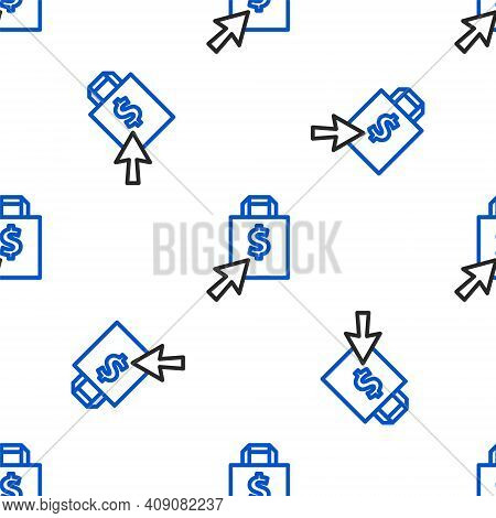 Line Shoping Bag And Dollar Icon Isolated Seamless Pattern On White Background. Handbag Sign. Woman