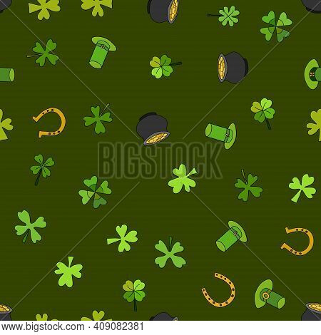 Saint Patrick's Day Vector Seamless - Green And Golden