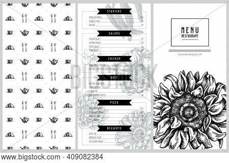 Vintage Menu Design With Poppy Flower, Gerbera, Sunflower, Milkweed, Dahlia, Veronica Stock Illustra