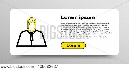 Line Lawyer, Attorney, Jurist Icon Isolated On White Background. Jurisprudence, Law Or Court Icon. C