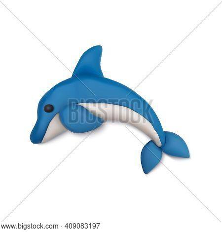 Plasticine Modeling Clay Sea Summer Composition With Realistic Figure Of Dolphin Vector Illustration