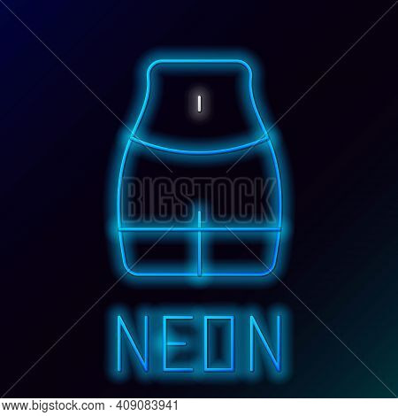 Glowing Neon Line Women Waist Icon Isolated On Black Background. Colorful Outline Concept. Vector