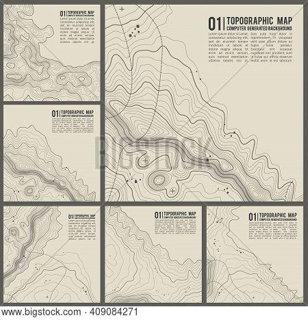 Topographic Pattern Texture Vector Set. Grey Contours Vector Topography. Geographic Mountain Topogra