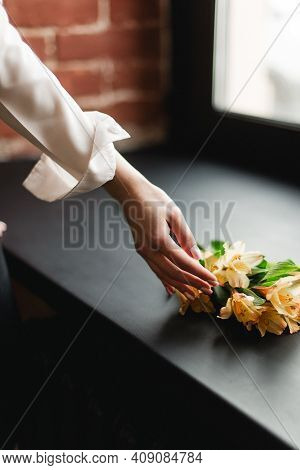Flower Touch. Touch The Flowers Gently With Your Hand.