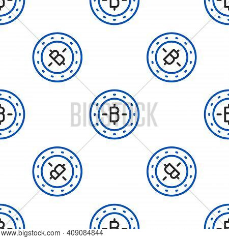 Line Cryptocurrency Coin Bitcoin Icon Isolated Seamless Pattern On White Background. Physical Bit Co
