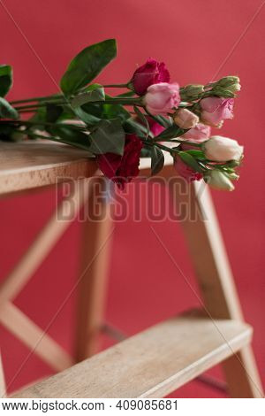 Fresh Flowers On A Pink Background. Beautiful Bouquet Of Flowers On A Pink Background