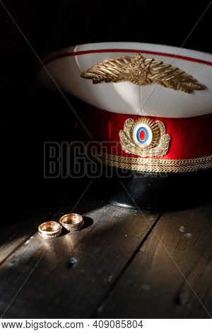 Sailor's Wedding. Sailor's Cap. Wedding Rings. Wedding Theme.