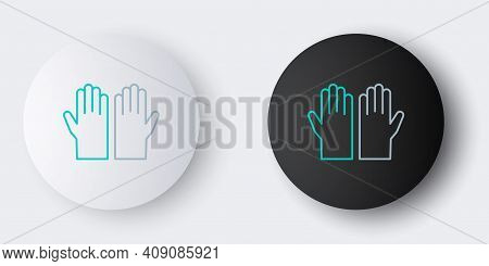 Line Medical Rubber Gloves Icon Isolated On Grey Background. Protective Rubber Gloves. Colorful Outl