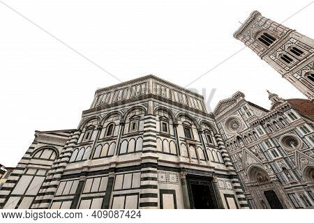 Florence Cathedral, Santa Maria Del Fiore, With The Bell Tower Of Giotto And The Baptistery Of San G
