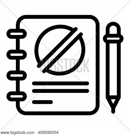 Notebook Disobedient Icon. Outline Notebook Disobedient Vector Icon For Web Design Isolated On White