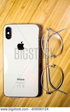Paris, France- Oct 2, 2018: Latest Apple Computers Smartphone Mobile Telephone Iphone Xs 11 12 13 Pr