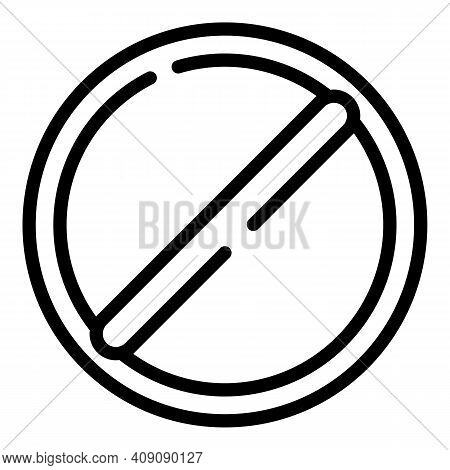Restricted Sign Icon. Outline Restricted Sign Vector Icon For Web Design Isolated On White Backgroun