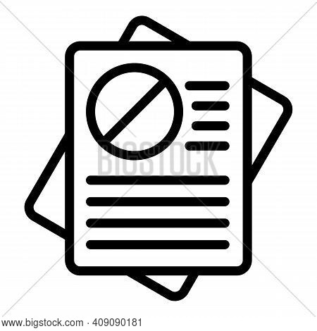 Rejected Documents Icon. Outline Rejected Documents Vector Icon For Web Design Isolated On White Bac