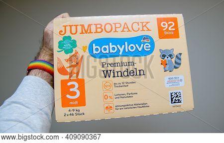 Strasbourg, France - Jan 16, 2021: Pov Personal Perspective Man Holding New Jumbo Pack Babylove Prem