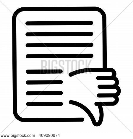 Service Dislike Icon. Outline Service Dislike Vector Icon For Web Design Isolated On White Backgroun