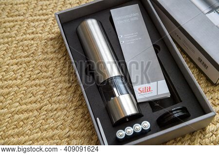 Paris, France - Feb 13, 2021: Unboxed Package With New Silit Salt Pepper Inox Mill Operated By Batte