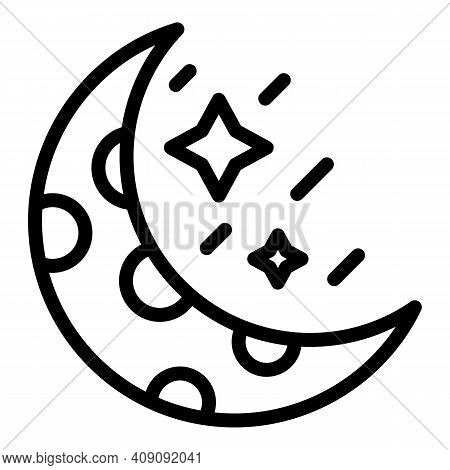 Moon Asteroid Icon. Outline Moon Asteroid Vector Icon For Web Design Isolated On White Background