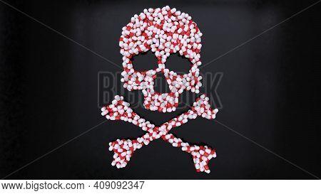 Psychiatry Medication Pills Killing By Suicide Drug Addiction Skull 3d Illustration