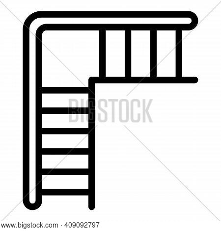 Staircase Icon. Outline Staircase Vector Icon For Web Design Isolated On White Background
