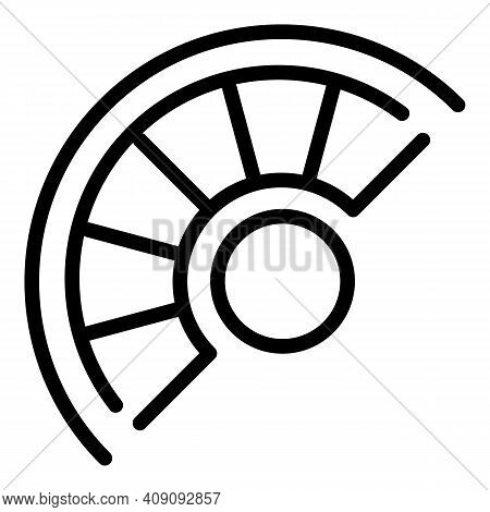 Curved Staircase Icon. Outline Curved Staircase Vector Icon For Web Design Isolated On White Backgro