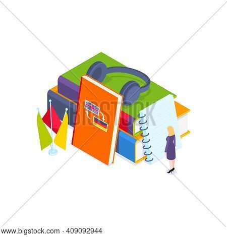 School Subjects Isometric Composition With Stack Of Dictionary Books In Foreign Languages With Flags