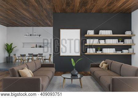 Mockup Canvas Frame In Living Room With Sofa And Coffee Table With Plant, Shelf On The Wall With Boo