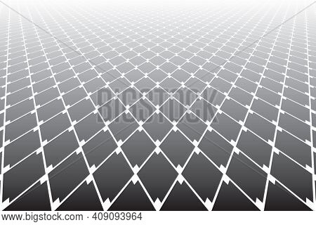 Abstract geometric diamonds grid pattern in diminishing perspective view.