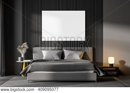 Dark Bedroom Interior With Wooden Parquet, Gray Bed And Two Bedside Tables. A Cabinet With Mirror. W