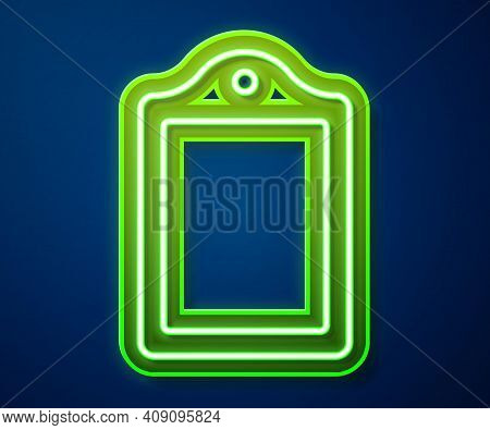 Glowing Neon Line Cutting Board Icon Isolated On Blue Background. Chopping Board Symbol. Vector