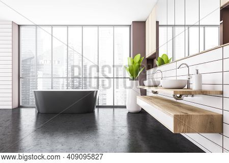 White And Black Bathroom With Two Sinks, White Bathtub Near Window, Front View. White Pink Stylish B
