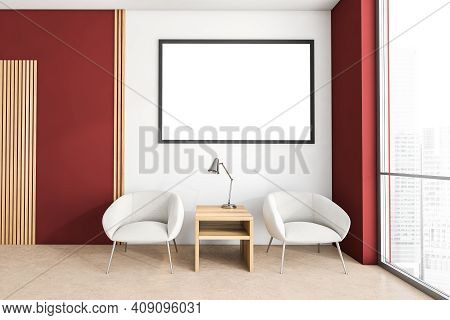 Mockup Canvas Frame In Red Waiting Room For Clients, White Armchairs And Coffee Table. Office Waitin