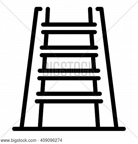 Portable Ladder Icon. Outline Portable Ladder Vector Icon For Web Design Isolated On White Backgroun