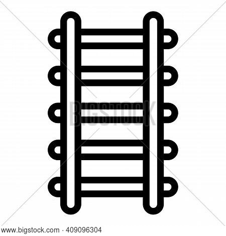 Stairway Ladder Icon. Outline Stairway Ladder Vector Icon For Web Design Isolated On White Backgroun