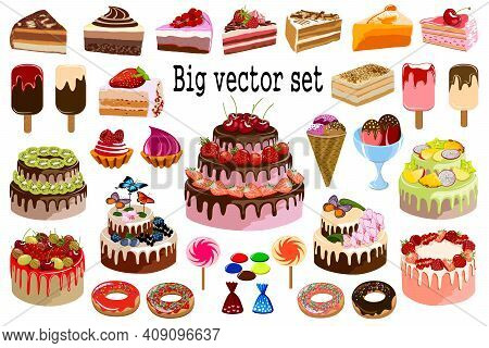 Big Vector Set Of Sweet Desserts.collection Of Sweet Desserts On White Background In Color Vector Il