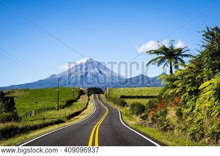 Scenic View Of Mount Taranaki In New Zealand