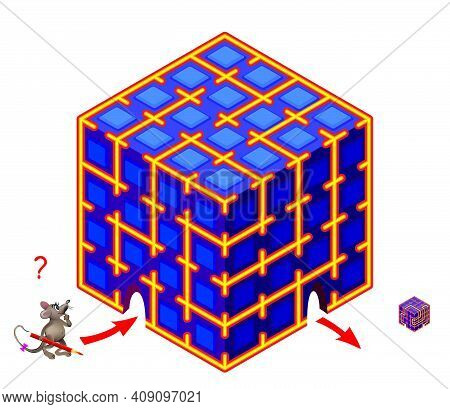 Logic Puzzle Game With Labyrinth For Children And Adults. Help The Mouse Find The Way Through The Ma