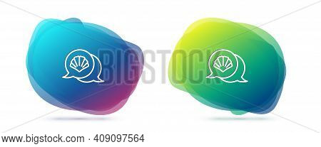 Set Line Scallop Sea Shell Icon Isolated On White Background. Seashell Sign. Abstract Banner With Li