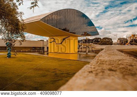 Curitiba, Paraná, Brazil - December 26, 2020: View Of The The Oscar Niemeyer Museum, Also Known As M