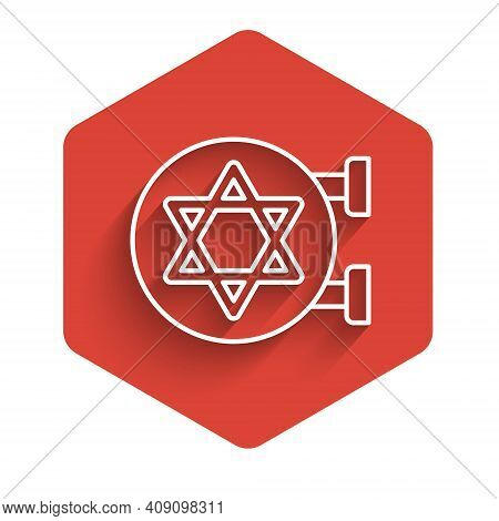 White Line Jewish Synagogue Building Or Jewish Temple Icon Isolated With Long Shadow. Hebrew Or Juda