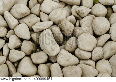 White Pebble On The Small Garden Ground Inside The House. Background Of Natural White Pebbles Textur