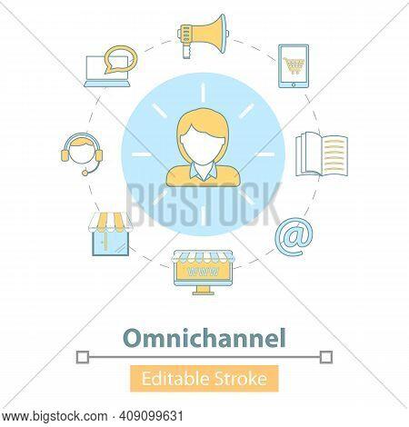 Vector Icon Of Cross-channel, Omnichannel, Online Shopping.
